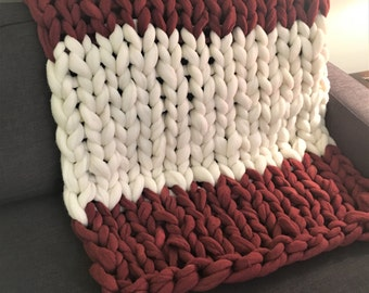 Merino Wool Blanket, FREE SHIPPING, large knit blanket, chunky knit throw, knit wool blanket, giant blanket, large blanket, color options