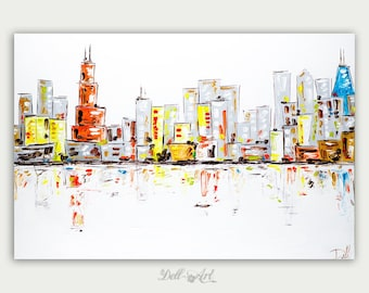 Original Chicago Skyline, Colorful Oil Painting, Abstract Modern Skyline, Fine Art, Home Decor