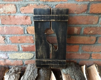 Black Crow Wood Shutter -Primitive Black Painted Wall Shutter with Rustic Nails/ Keyhooks