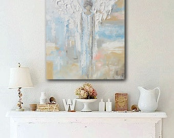 GICLEE PRINT Art Abstract Angel Painting Canvas Print Oil Painting Home Decor Christmas Wall Decor Spiritual White Blue Pastel - Christine