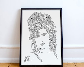 Amy Winehouse  - doodle portrait of the Soul Jazz Diva - Open Edition Print - modern poster - White and black - camden back in black