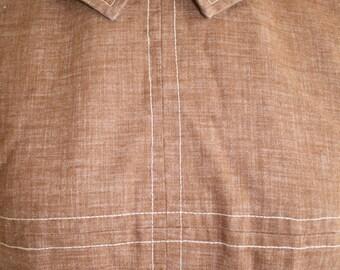 Vintage 50s Linen Blouse, 1950s Peter Pan Collar Blouse, Brown, Short Sleeve, Shirt, Top
