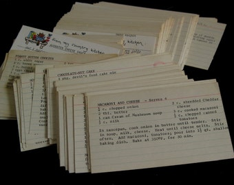 Vintage Recipe Card Collection, Typed on typewriter, 3 x 5 Recipes