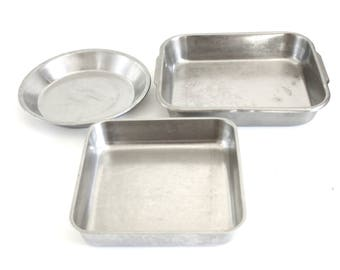 Stainless Steel Bakeware Square Cake Pan, Polar Ware Allegheny Metal Rectangular Baking Trays, Vollrath Pie Pan, Commerical Cookware