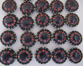 1930's casein buttons, 40 pcs Art Deco colorful black casein plastic buttons, 17mm galalith quality self shank buttons Germany, 5/8 inch