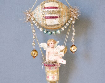 victorian ornament, dirigible ornament, angel ornament, hot air balloon ornament with angel - THE CUPID'S Express
