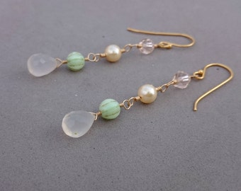 Mint Green Earrings - Mint and Gold Earrings with White Chalcedony with Swarovski Crystal and Pearl