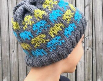 Knitting Pattern-- Alien Invasion Knit Beanie -- Knitting Pattern