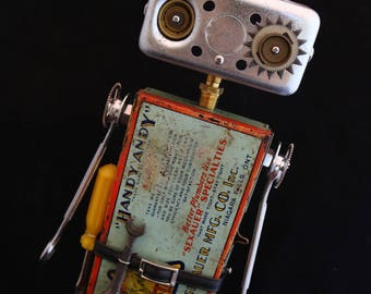 Handy Andy Bot - found object robot sculpture assemblage by Cheri Kudja with Bitti Bots