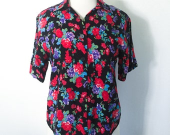 "Vintage 1980s 1990s ""B'Way Jr.""Black, Red, Purple and Green Floral Button Up Shirt Sleeve Shirt- Women's size Small"