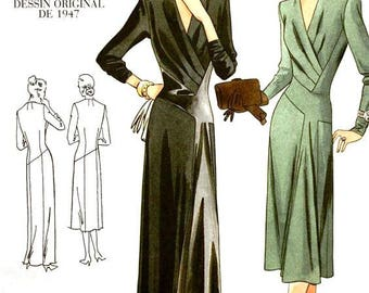 Vogue 2354 vintage sewing pattern, 1940s dress in day or evening length, tucked bodice, asymmetrical hips, size 14 UNCUT