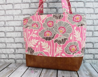 Lulu Large Tote Diaper Bag Pink Poppies  and PU Leather  LAST ONE    Purse Diaper Bag