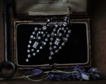 ON HOLD Antique Paste Earrings, Antique Chandelier Earrings, Antique Silver Earrings, Antique Diamond Earrings