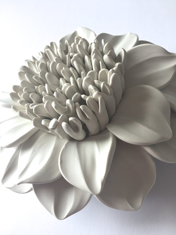 Full Center Dahlia Clay Wall Sculpture
