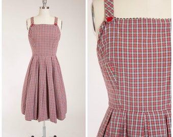 Vintage 1950s Dress • Plaid Adventure • Red Black Tartan 50s Dress with Full Skirt by Lanz Size Medium