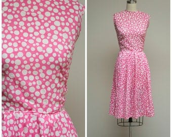 Vintage 1960s Dress • Passionate Flush • Bright Pink Polka Dot Print Early 60s Day Dress Size Small