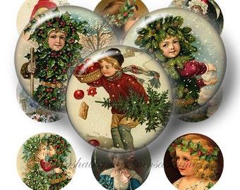 Vintage Christmas, Digital Collage Sheet, Bottle Cap Images, 1 Inch Circle, Instant Download, Digital Download, Printable Images VC1