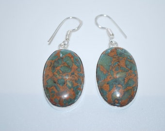 Bamboo Jasper spiritual gemstone crystal dangle drop earrings with healing properties