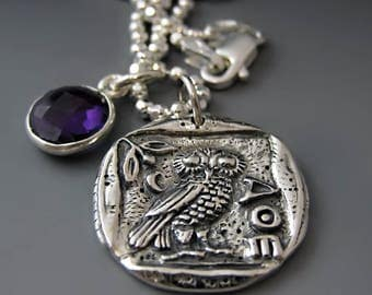 Sterling Silver Greek Owl Coin Necklace / Athena's Owl Pendant / Gifts for Her / Graduation Gifts / Teen Gift Ideas / Owl Pendant /Owl Charm