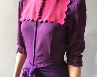 Marvelous 1930s Vintage Purple & Hot Pink Crepe Rayon Gown Long Sleeves, Scalloped Bib and Zip Front