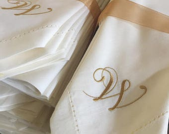 bulk monogrammed wedding cloth napkins 25 set wedding napkin wedding linens embroidered - Linen Monogrammed Napkins