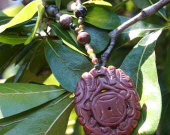 Jade Oriental Pendant with Agate Beads