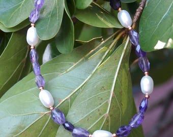 Amethyst and Freshwater Pearl Bracelet