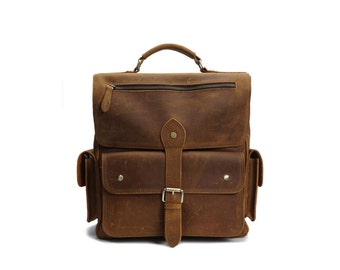 Brown genuine leather backpack / brown leather rucksack / brown leather book bag / brown leather school bag / leather bag