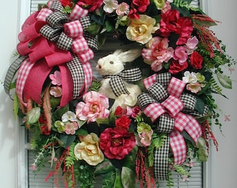Spring Summer Wreath Large Easter Wreath Sisal Bunny Rabbit Pink Yellow Roses Elegant Front Door Decoration Silk Floral Fireplace Grapevine