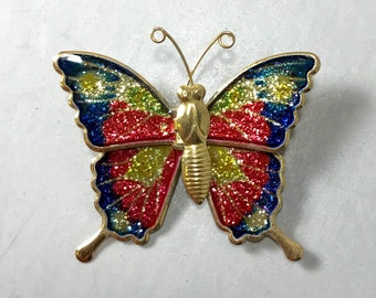Butterfly Brooch, Butterfly Pin, Metallic Butterfly Brooch, Enamel Butterfly Brooch, Vintage Butterfly Brooch