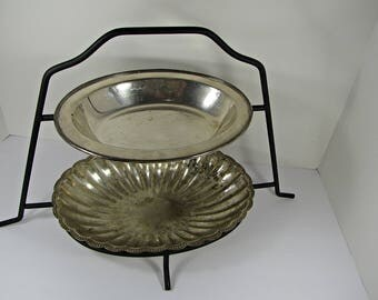 Vintage BLACK SERVING STAND 2 Tier Oval Metal Footed Kitchen Rack Pastry Display Platter Bowl