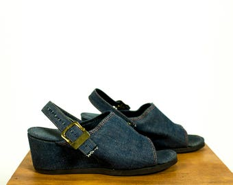 Vintage 1970s Denim Slingback Open Toe Wedge Mules Size 7.5