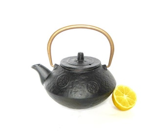Cast Iron Japanese Tea Pot with insert - Copper handle - 3 cups