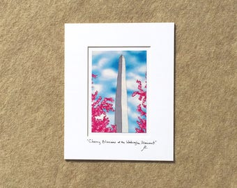 "Small print ""Cherry Blossoms at the Washington Monument"" YOUR CHOICE of mat color, fits 8x10 inch frame, high quality reproduction print"