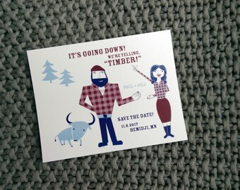 Save the date - Paul Bunyan - yelling timber - 30 postcards