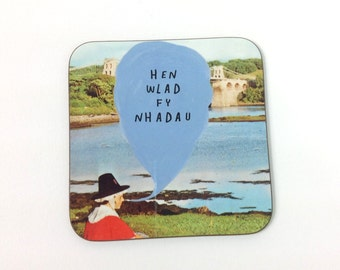 NEW - Hen Wlad Fy Nhadau Welsh Text National Anthem Vintage Girl Melamine Coaster
