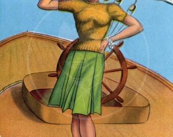 Miss Chief - 10x16 Giclée Canvas Print of Vintage Pinup Postcard