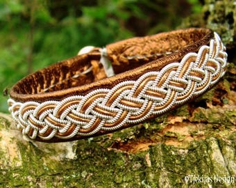 Vikings and Shieldmaidens Bronze Leather and Pewter Sami Lapland Bracelet Cuff Bangle FREKI Norse Personalized Jewelry to Your Wishes