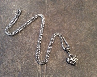 "Extra Long Heart Necklace with 28"" wheat chain"