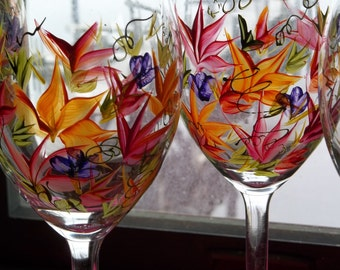 2 ROUSSEAU Inspired Wine Glasses Handpanted