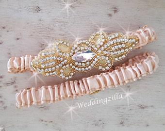 Gold Wedding Garter Set,  Gold Crystal Garter, Gold Bridal Garter, Wedding Garter Belt , Bling Garter, Bridal Garter, Garter, Boudoir,