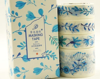 Azure - Japanese Washi Masking Tape Box Set - 4 rolls - 3.3 Yard(each roll)