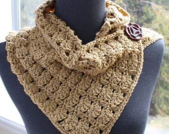 Buttoned Cowl - Easy Crochet PATTERN - Eddy Button Scarf - PDF 1028