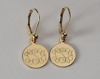 Custom Engraved Monogram Earrings Personalized Petite Gold Filled Round Disc Lever Back Earrings - Hand Engraved