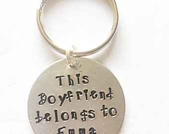 Hand Stamped Boyfriend Keyring - This Boyfriend Belongs To Keyring - Boyfriend Keychain - Boyfriend Keyring - Valentines Gift - Gift For Him
