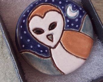 Ceramic Pottery Barn Owl Brooch Pin, Owl Jewelry, Owl Animal Totem, British Wildlife, Wearable Art, Nature Jewelry, Scarf Pin