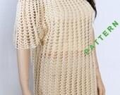 Crochet Summer Tunic Pattern, Crochet Top Pattern, Crochet Beach Cover-up Pattern, Crochet dress pattern, Beach pool dress,