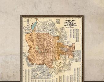Vintage map of Pasadena - Old city map restored, fine print