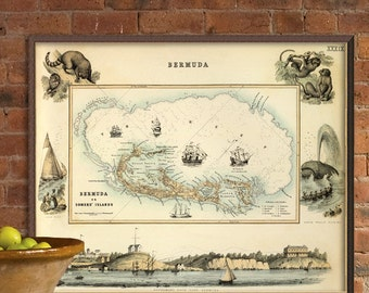 Bermuda Island Pictorial map - Decorative old map , fine print