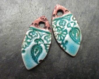 Flora- handmade ceramic marquis rustic earring bead charm pair aqua rust 3780